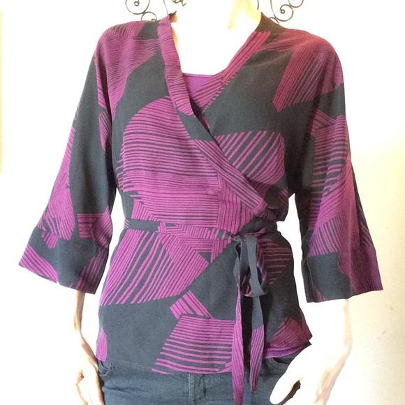 Calvin Klein Tops - Calvin Klein $138 Silk Wrap Kimono Blouse Purple